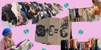 Collage showing textile waste and impacts of the fashion industry on the environment