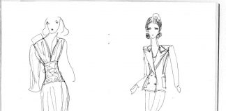 sketches of figures wearing dresses