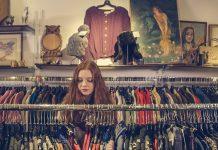 woman in vintage clothes shop