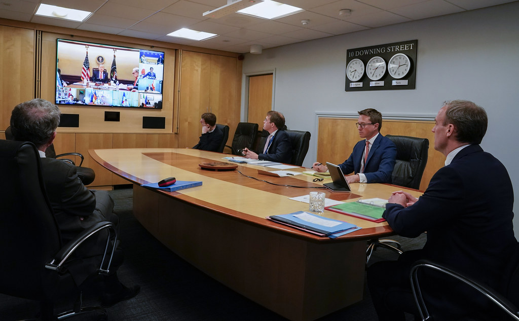 Dominic Raab attends a remote G7 meeting