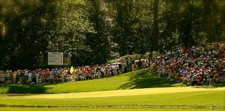 A photo showing a large crowd watching the green after two balls have been hit onto it.