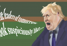 Art of Boris Johnson in the House of Commons with words coming out of his mouth which read 'The leaders of tomorrow look suspiciously like ...'
